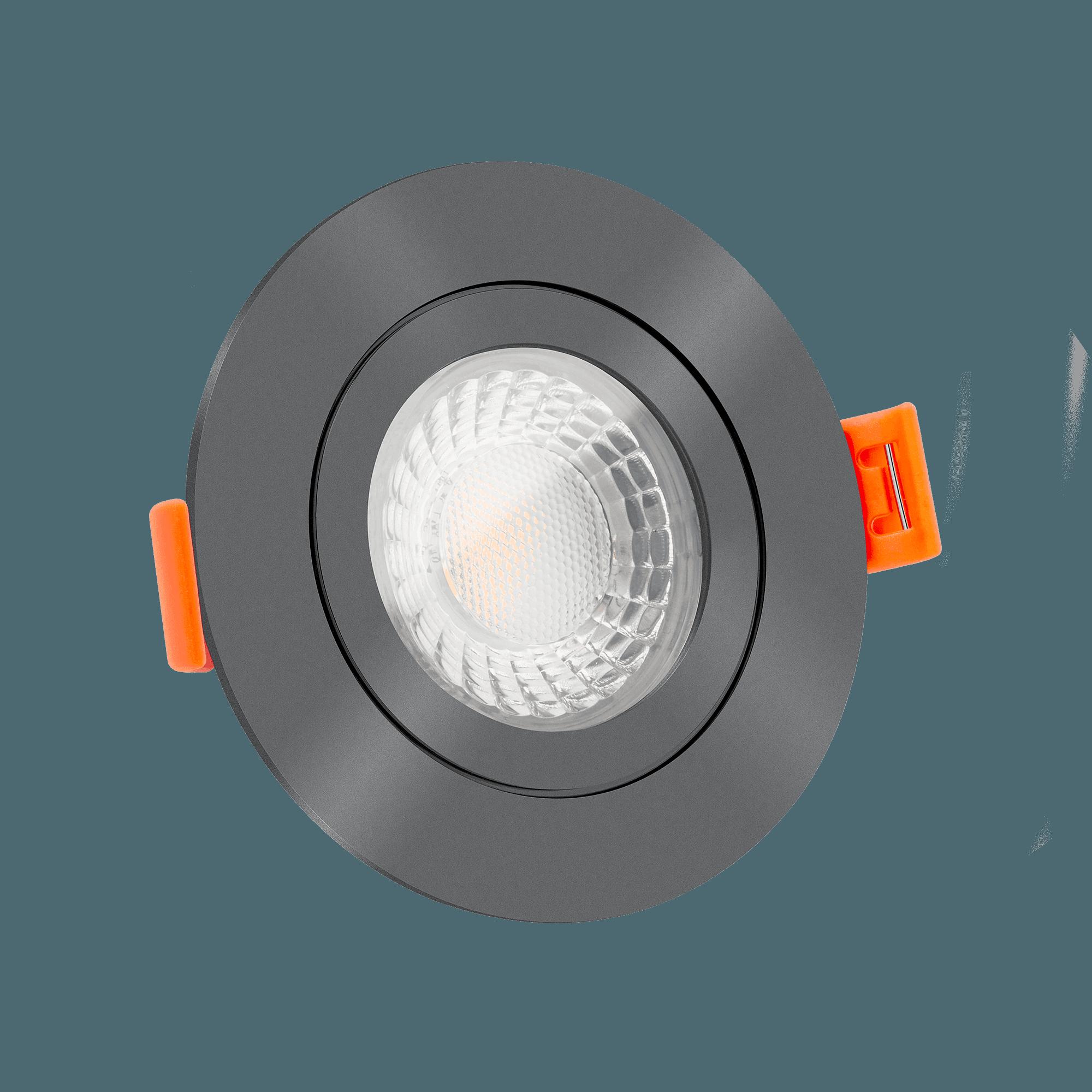 Bad LED Einbauleuchte 200V ohne Trafo   200mm flach & IP200   dimm20warm & 20  CRI   20W 20 20K   20° Reflektor   Aluminium anthrazit rund